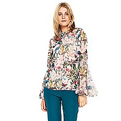 Wallis - Stone bird flute sleeves top