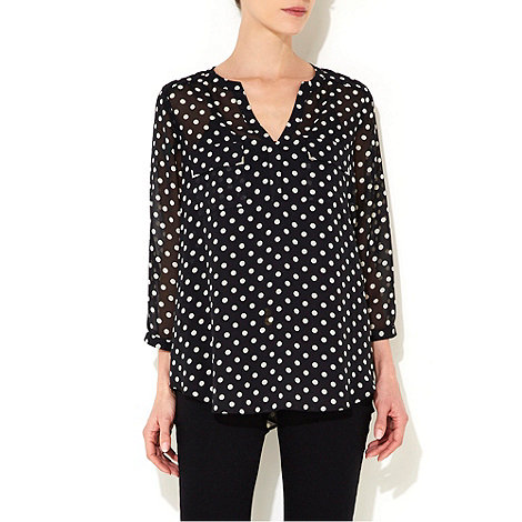 Wallis - Black polka dot shirt