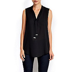 Wallis - Black sleeveless tie neck blouse