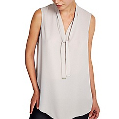 Wallis - Oyster sleeveless tie neck blouse