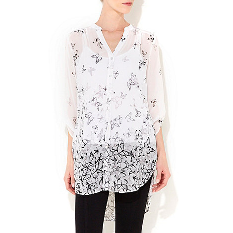 Wallis - Black and white butterfly print shirt