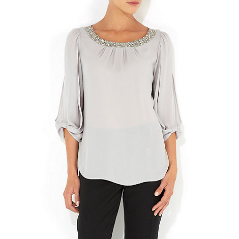 Wallis - Grey embellished bow sleeve top