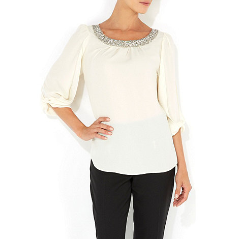 Wallis - Stone embellished bow sleeve top