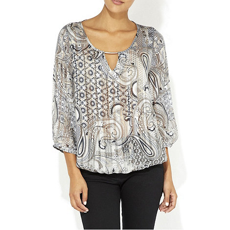 Wallis - Grey paisley print blouse