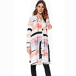 Wallis - Coral striped longline shirt