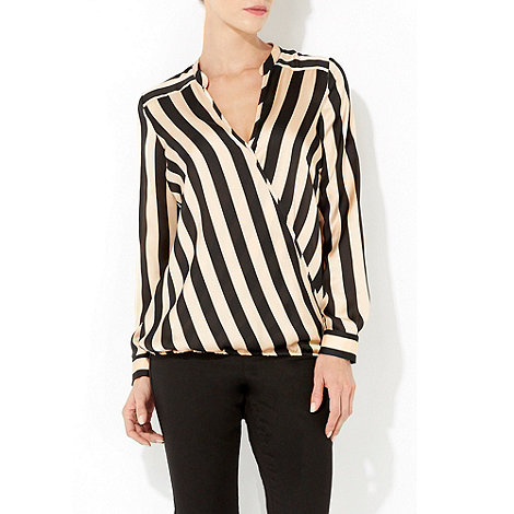 Wallis - Black stripe wrap top
