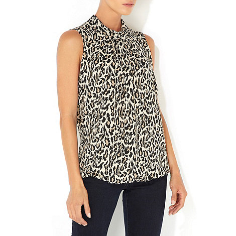 Wallis - Brown leopard print high neck blouse