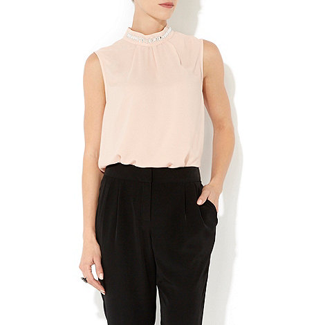Wallis - Nude embellished high neck top