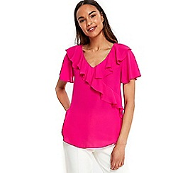 Wallis - Bright pink ruffle front woven top