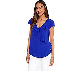 Wallis - Bright blue ruffle front woven top