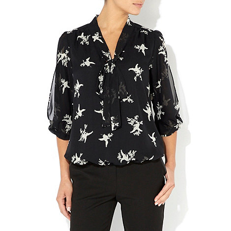 Wallis - Black bird print pussy bow blouse