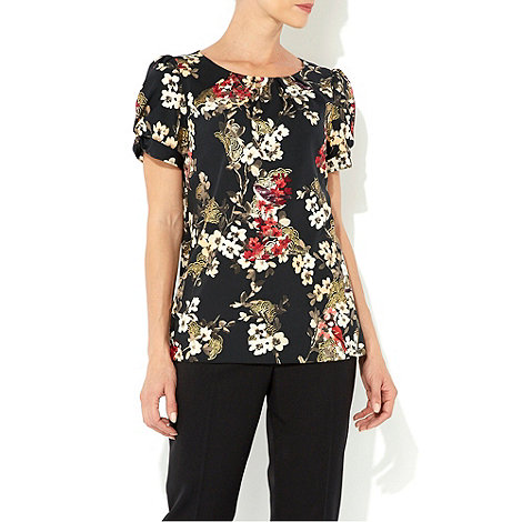 Wallis - Black bird print shell top