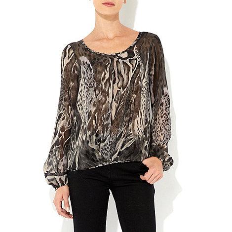 Wallis - Black animal print blouse