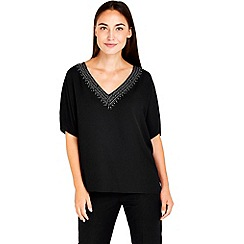 Wallis - Black v-neck studded top