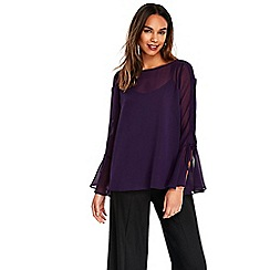 Wallis - Purple lace up top