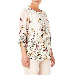 Wallis - Cream print tab sleeve blouse