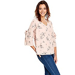 Wallis - Blush bird floral print top