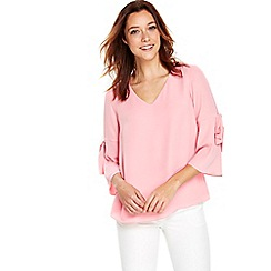 Wallis - Pink tie flute sleeves top