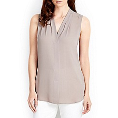 Wallis - Stone longline sleeveless top