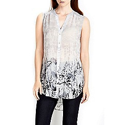 Wallis - Grey butterfly sleeveless shirt