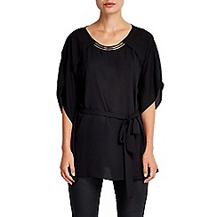Wallis - Black neck detail kimono top