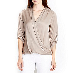 Wallis - Hammered satin wrap blouse