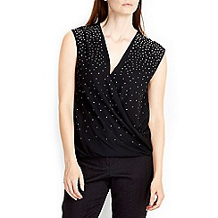 Wallis - Black embellished wrap top