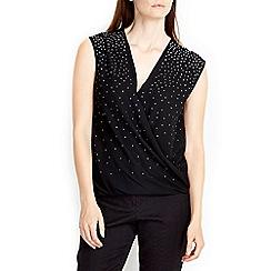 Wallis - Black embellished wrap top