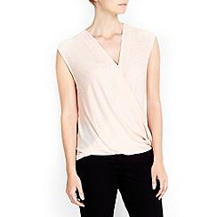 Wallis - Pale pink sequin wrap blouse