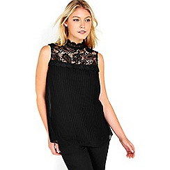 Wallis - Black pleated front top