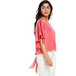 Wallis - Coral angel sleeves top