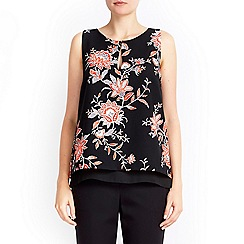 Wallis - Black floral layer shell top