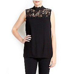 Wallis - Black pleat lace top