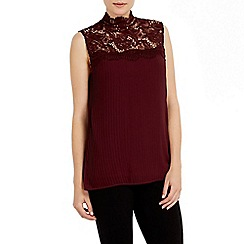 Wallis - Berry pleat lace blouse