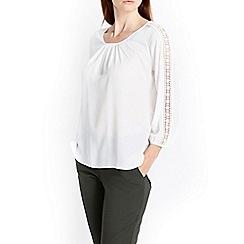 Wallis - Cream crochet sleeve blouse