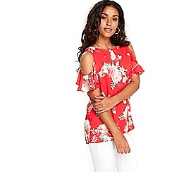 Wallis - Coral floral ruffle top