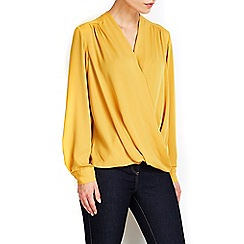 Wallis - Mustard wrap top
