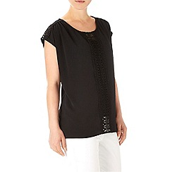 Wallis - Black crochet textured top
