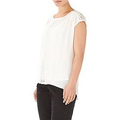 Wallis - Cream crochet textured top