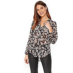 Wallis - Black floral print blouse