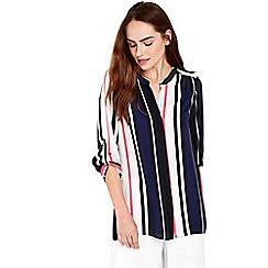 Wallis - Navy and pink stripe shirt