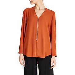 Wallis - Rust zip front shirt