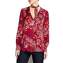 Wallis - Berry floral print tie neck top