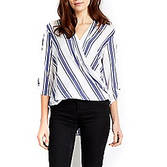 Wallis - Ivory blue stripe wrap blouse