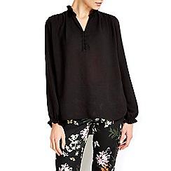 Wallis - Black ruffle neck blouse