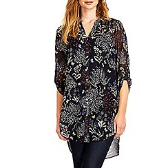Wallis - Navy floral print shirt
