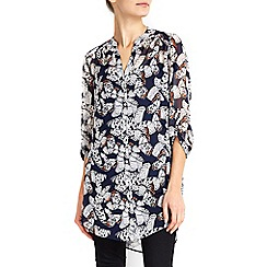 Wallis - Navy butterfly print shirt