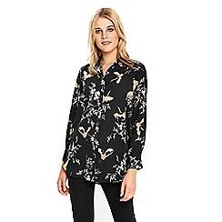 Wallis - Black bird print shirt