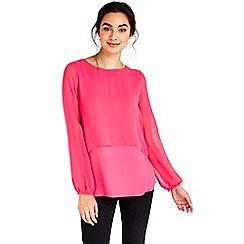 Wallis - Plain pink double layer top