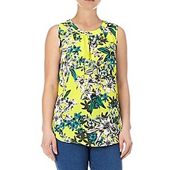 Wallis - Bright yellow floral shell top